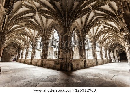 Cloister arch perspective of Cahors Cathedral in France