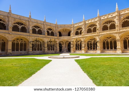 Cloister of Mosteiro dos Jeronimos (Hieronymites Monastery), Lisbon, Portugal. Typical example of the Manueline style (Portuguese late-Gothic). UNESCO World Heritage Site - stock photo