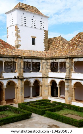"Cloister of ""Nossa senhora da Assumpcao"" convent in Faro, Algarve, Portugal - stock photo"