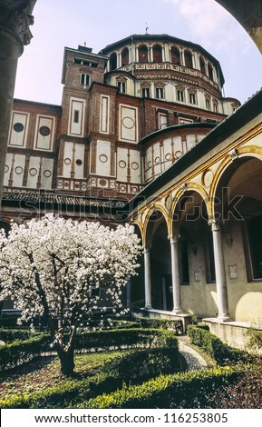 Cloister of Santa Maria delle Grazie (Milan, Lombardy, Italy) with garden