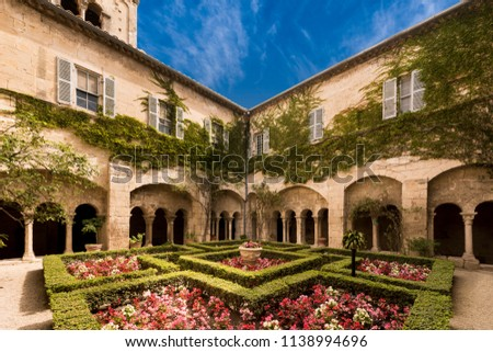 Cloister of the Monastery of San Paul de Mausole at Saint-Remy de Provence. Bouches du Rhone, Provence, France