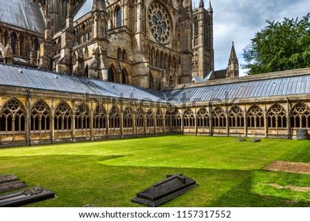 Cloisters at Lincoln Cathedral, Lincolnshire, UK. #1157317552