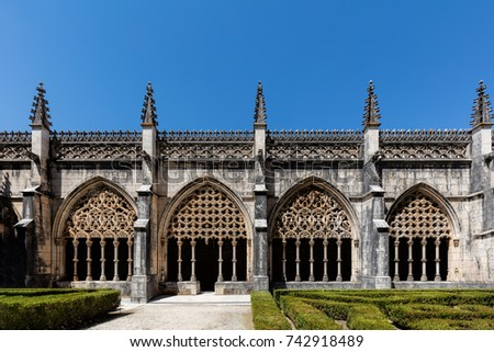 Cloisters of the Batalha Monastery, a prime example of Portuguese Gothic architecture, UNESCO World Heritage site, started in 1386 but never actually completed. #742918489