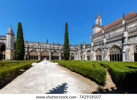 Cloisters of the Batalha Monastery, a prime example of Portuguese Gothic architecture, UNESCO World Heritage site, started in 1386 but never actually completed. #742918507