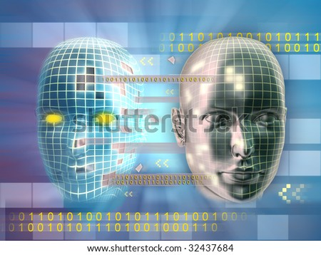 Cloning someone's identity online. Digital illustration.