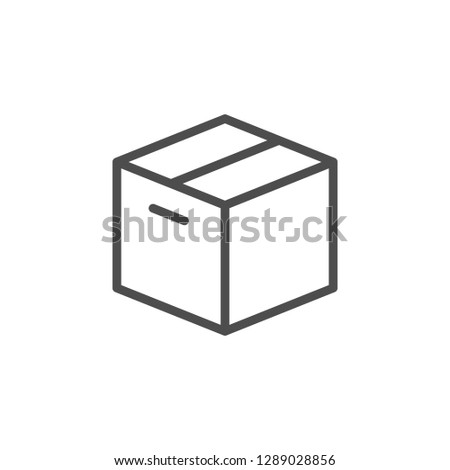 Close box line icon isolated on white