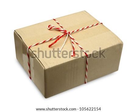 Close brown paper box on white