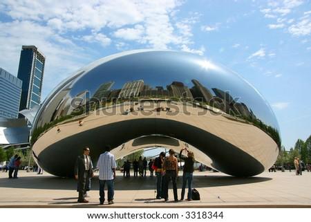 "Close central view of Cloud Gate sculpture aka ""The bean"", Millennium Park, Chicago, Illinois"