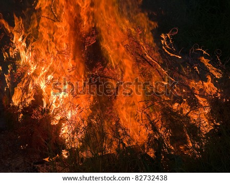 Close details of burning flame fire inferno