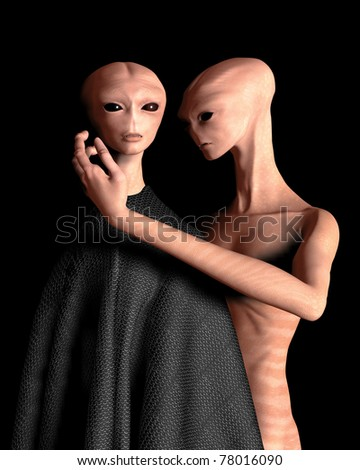 Close encounter between two space alien lovers. Portrait style illustration with black background.