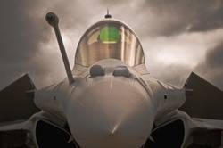close front view of  french air jet fighter