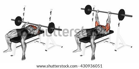 Close-Grip Barbell Bench Press. 3D illustration