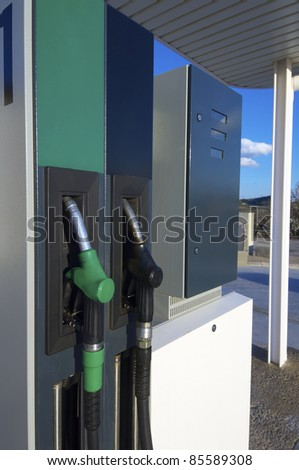Close hose  spout of a gas station