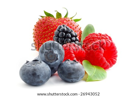 Close image of berries studio isolated on white background