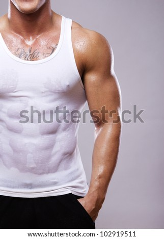 Close image of muscle man torso