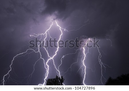 Close lightning over the trees, very bright bolts.