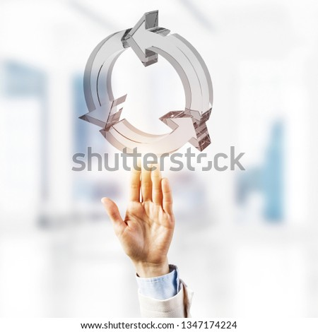 Close of businessman touching in palm reload glass icon. Mixed media #1347174224