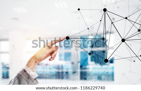 Close of businesswoman hand touching with finger connection concept. 3d rendering #1186229740