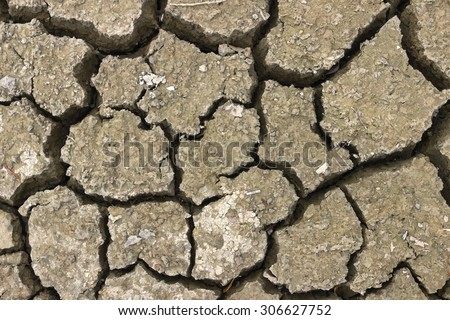 Close of dry riverbed, cracked ground. Background of dried and cracked earth.