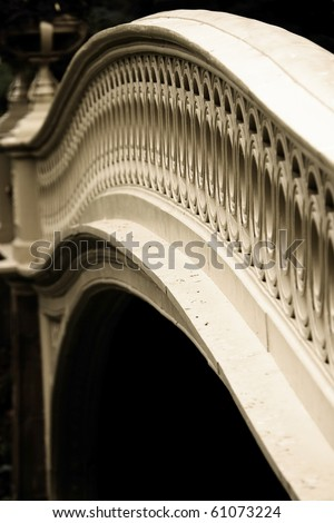 Close photo of the Bow Bridge in Central Park, NY