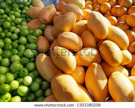 Close pic of fruits on sale in Thai market