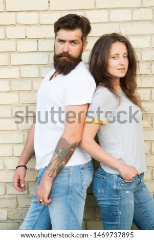 Close relationship. Sensual woman and bearded man enjoying romantic relationship. Loving relationship between brutal hipster and sexy girl. Building trust in relationship.