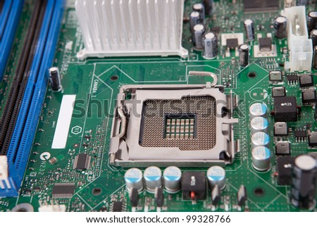 Close shot of an old computer motherboard - stock photo