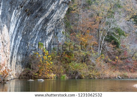 Close shot of Echo Bluff and Sinking Creek located in Echo Bluff State Park in the Ozarks of Missouri.