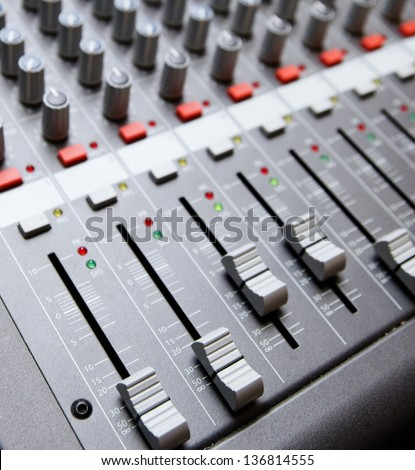 close shot of professional audio recording equipment for multiple purposes stock photo 136814555. Black Bedroom Furniture Sets. Home Design Ideas