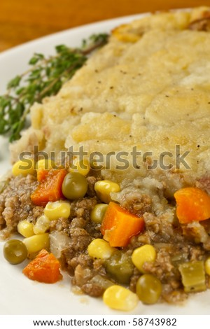 Close shot of shepherds pie made with organic ingredients