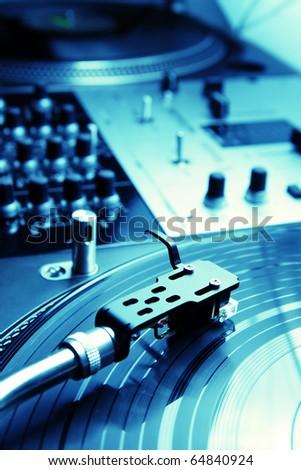 Close shot of top class vinyl equipment for a hip-hop scratch dj