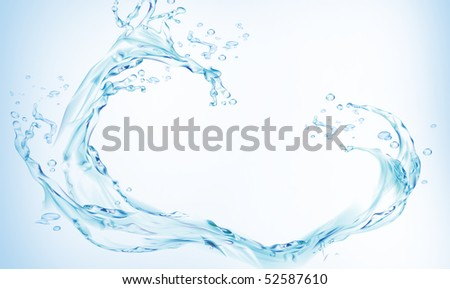 Close shot of water splashing