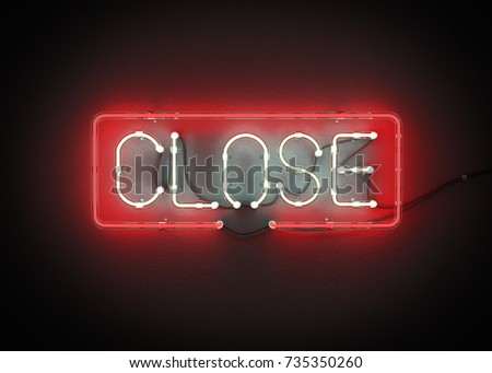 Close Sign made from neon alphabet on a black background. 3D illustration
