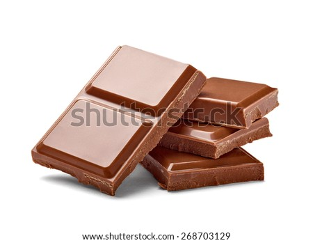 close up a chocolate bar on white background