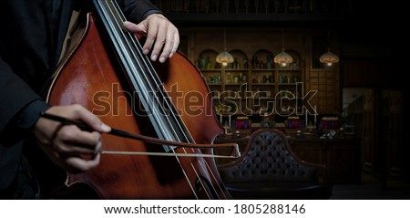 Close up A classic musician plays double bass in the vintage room  Foto d'archivio ©