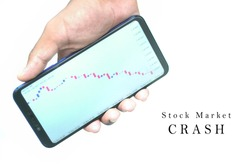 Close up a hand is holding smartphone with stock graph in downturn pattern appear on the screen and also a text