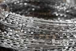 close up a roll of barbed wire