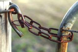Close-up a rusty farm gate lock