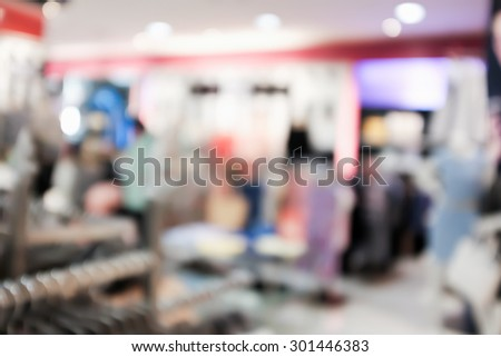 Close up abstract blurred in department store