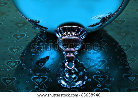 Close up abstract of a blue christmas bauble