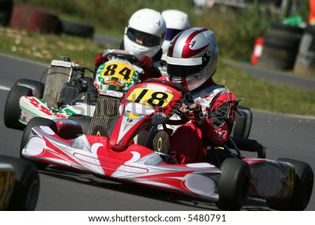 Close up action of a go kart race