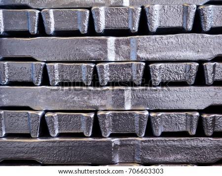Close up aluminium ingot in bundle,Texture of aluminium ingot. #706603303