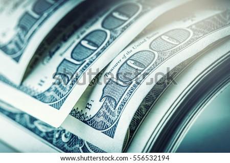 Close-up american dollar banknotes.