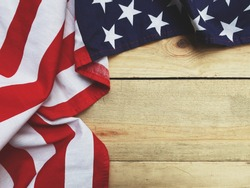 close up american flag on wood copy space background for text, happy memorial day concept