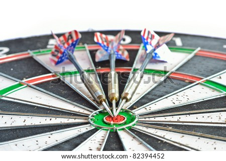 close up an old condition of dart game on white background.