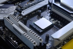 Close-up and selective focus hi-performance Processor that installed on CPU socket of computer mainboard for upgrade to work and entertainment, technology and information