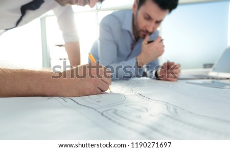close up.architects make sketches for a new project #1190271697