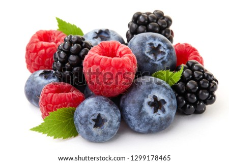 Close-up arrangement mixed, assorted berries including blackberries, blueberry, raspberries - Image  #1299178465