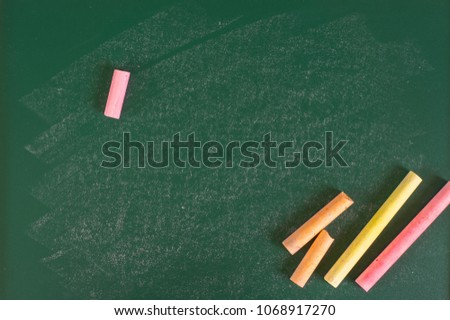 Close up arrangement of chalkboard. Preschool, education, back to school and copy-space concept or other your content.