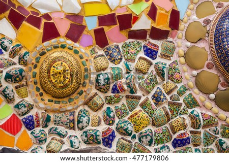 Close up Art Wall Mosaic,Marble, Stone Textured of Public Temple at North of Thailand #477179806